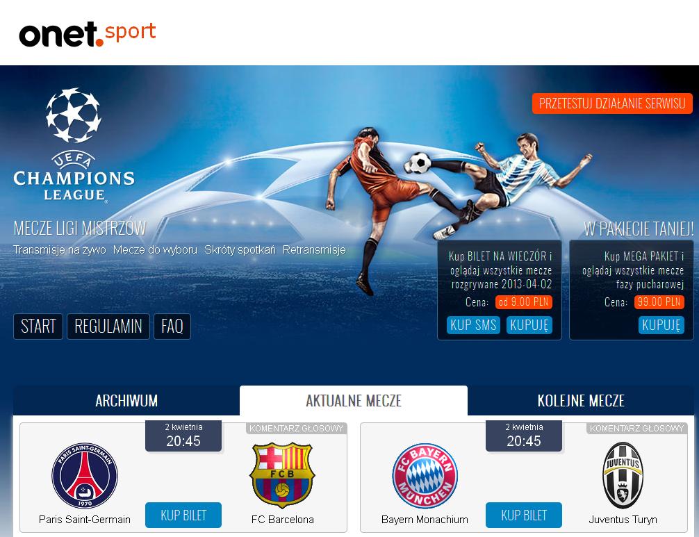 Liga Mistrzów na żywo, mecze online w Sport Onet.pl 2013-04-02 08-46-51